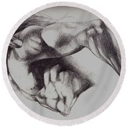 North American Minotaur Pencil Sketch Round Beach Towel