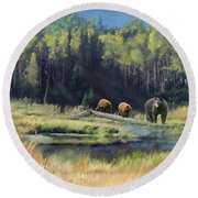 North American Waterhole Round Beach Towel
