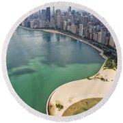 North Avenue Beach Chicago Aerial Round Beach Towel by Adam Romanowicz
