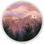 North Bend Washington Sunset 2 Round Beach Towel
