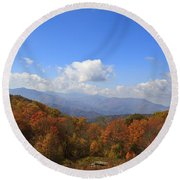 North Carolina Mountains In The Fall Round Beach Towel