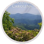 North Carolina Mountains Round Beach Towel