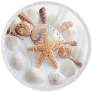 North Carolina Sea Shells Round Beach Towel