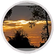 North Carolina Sunset Round Beach Towel