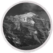 203553-north Face Mt. Temple Bw Round Beach Towel