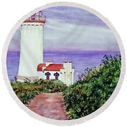 North Head Light House On The Washington Coast Round Beach Towel