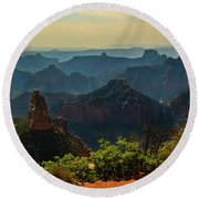 Round Beach Towel featuring the photograph North Rim Grand Canyon Imperial Point by Bob and Nadine Johnston