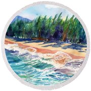 North Shore Beach 2 Round Beach Towel by Marionette Taboniar