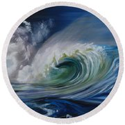 Round Beach Towel featuring the painting North Shore Curl by Donna Tuten
