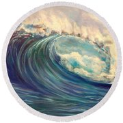 Round Beach Towel featuring the painting North Whore Wave by Jenny Lee