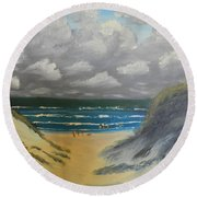 Round Beach Towel featuring the painting North Windang Beach by Pamela  Meredith