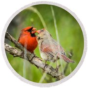 Northern Cardinal Male And Female Round Beach Towel