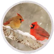 Northern Cardinals Round Beach Towel