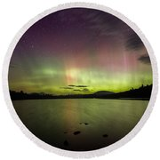 Northern Lights Over Ricker Pond Round Beach Towel