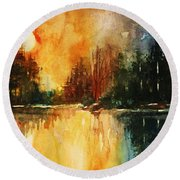 Northern Sunset Round Beach Towel