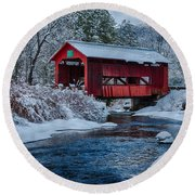 Northfield Vermont Covered Bridge Round Beach Towel