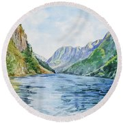 Norway Fjord Round Beach Towel