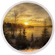 Round Beach Towel featuring the photograph Norway Hedmark by Rose-Maries Pictures