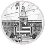 Norwich University Jackman Hall Round Beach Towel
