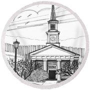Norwich University White Chapel Round Beach Towel