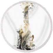 Nostalgy Guitar Watercolor Instrument Round Beach Towel