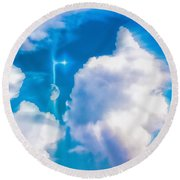 Not Just Another Cloudy Day Round Beach Towel