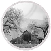 Not Much Time Left Bw Round Beach Towel by Debby Pueschel