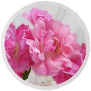 Round Beach Towel featuring the photograph No Ordinary Roses by Louise Kumpf
