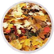 Nothing But Leaves Round Beach Towel by Mike Ste Marie