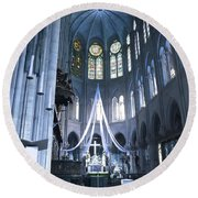 Notre Dame Altar Teal Paris France Round Beach Towel