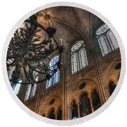 Round Beach Towel featuring the photograph Notre Dame Interior by Jennifer Ancker