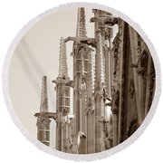 Notre Dame Sentries Sepia Round Beach Towel by HEVi FineArt
