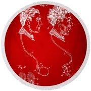 Novelty Wig Patent Artwork Red Round Beach Towel