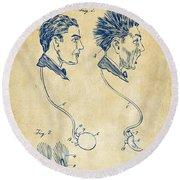 Novelty Wig Patent Artwork Vintage Round Beach Towel
