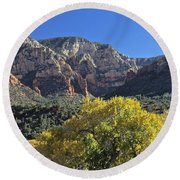 Round Beach Towel featuring the photograph November In Sedona by Penny Meyers