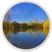 November Lake 1 Round Beach Towel