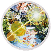 The Glorious River Round Beach Towel