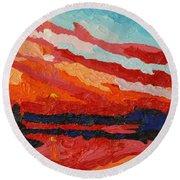 November Sunset Round Beach Towel by Phil Chadwick