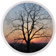 November Walnut Tree At Sunrise Round Beach Towel