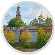 Novodevichy Convent And Cathedral Of Round Beach Towel