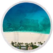 Pipeline Reef From Above Round Beach Towel