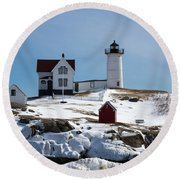 Nubble Light 2 Round Beach Towel