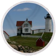 Round Beach Towel featuring the photograph Nubble Light House York Maine by Denyse Duhaime