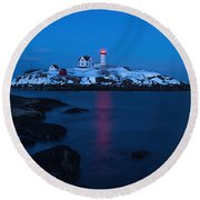 Nubble Light Reflections Round Beach Towel