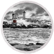 Nubble Lighthouse After The Storm Round Beach Towel
