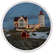 Nubble Lighthouse At Christmas Round Beach Towel