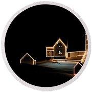 Nubble Lighthouse Christmas Lights Round Beach Towel by Denyse Duhaime