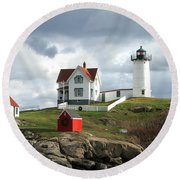 Nubble Lighthouse Round Beach Towel by Nancy Landry