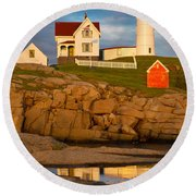 Nubble Lighthouse No 1 Round Beach Towel by Jerry Fornarotto