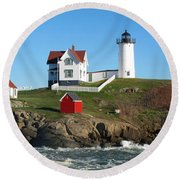 Nubble Lighthouse One Round Beach Towel